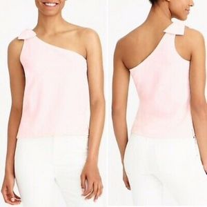 J Crew | One Shoulder Tank With Bow Shoulder Cream